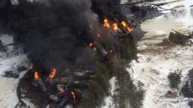 Fire erupted after a train carrying crude oil derailed in northern Ontario this weekend, just weeks after a similar incident in the area. That's raised fresh questions about the safety of shipping oil by rail.