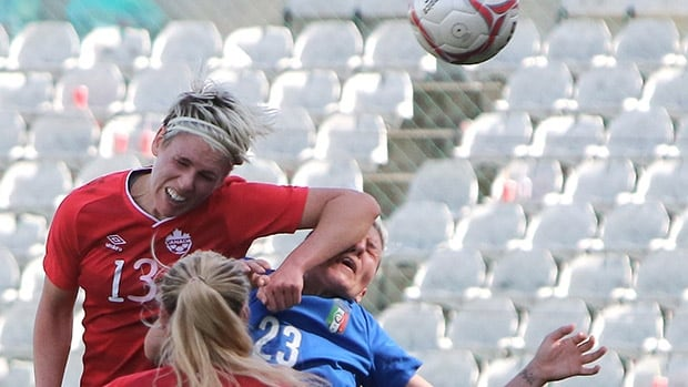Canada's Sophie Schmidt, left, tangles with Italy's Stefania Tarenzi during their Cyprus Cup match.