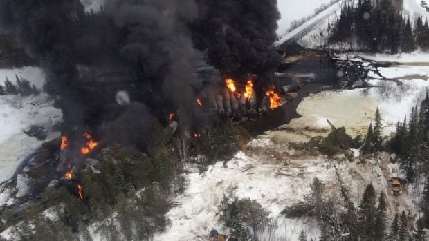 An aerial eastward view on March 7 of a CN train derailment site near Gogama. Here a few submerged tank cars can be seen.