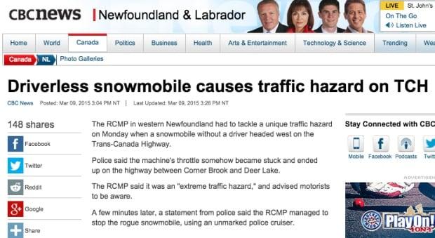 Driverless snowmobile in Newfoundland