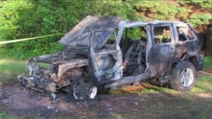 Patricia Hennessey's burned-out Jeep