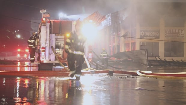 About 35 firefighters were called to a major fire on Langley Bypass, Tuesday night. The fire destroyed several businesses in a light industrial complex.