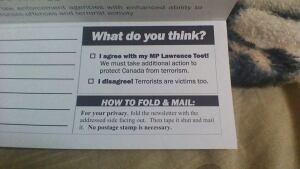 Toet terrorist mailout