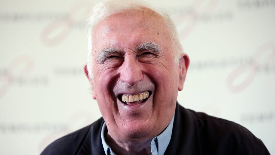 Jean Vanier, the founder of L'ARCHE, laughs during a news conference in central London. Vanier has been awarded the 2015 Templeton Prize. (AP Photo/Lefteris Pitarakis)