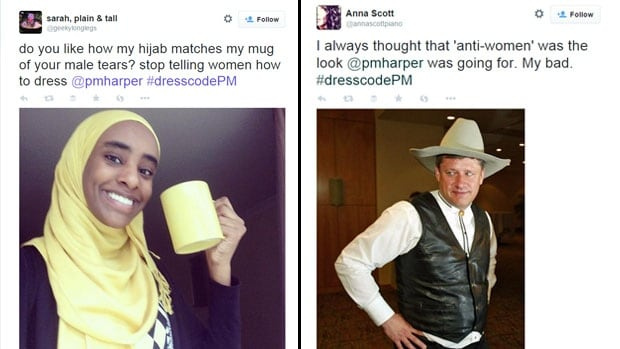 A hashtag created to mock Prime Minister Stephen Harper's 'anti-women' niqab comments was trending across Canada Wednesday as thousands weighed in to share their own thoughts on the issue.