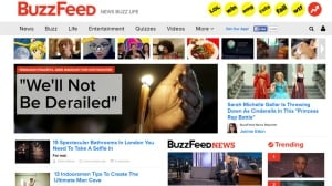 Screen shot shows Buzzfeed's website today. The news and quiz site is opening a Canadian office.