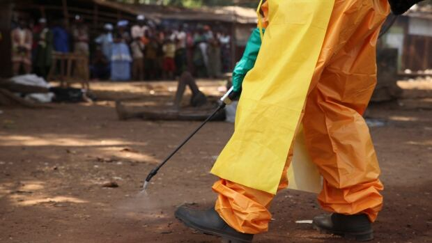 A member of the French Red Cross disinfects the area around a motionless person suspected of carrying the Ebola virus in a town in Guinea in late January.
