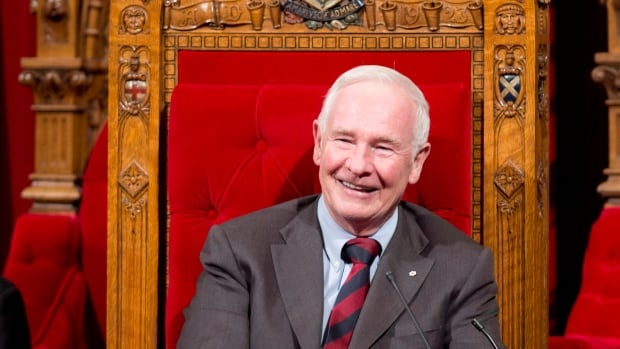 Governor General David Johnston smiles as he waits for the start of a ceremony in the Senate giving royal assent to government legislation, Friday, December 14, 2012 in Ottawa. On Tuesday, Prime Minister Stephen Harper announced that Johnston will remain in the position until September 2017.