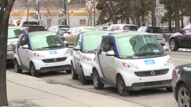 Car2Go vehicles parked in downtown Calgary.