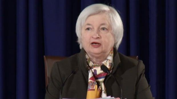 At today's news conference, Federal Reserve chair Janet Yellen said the central bank has downgraded its outlook for the U.S. economy.