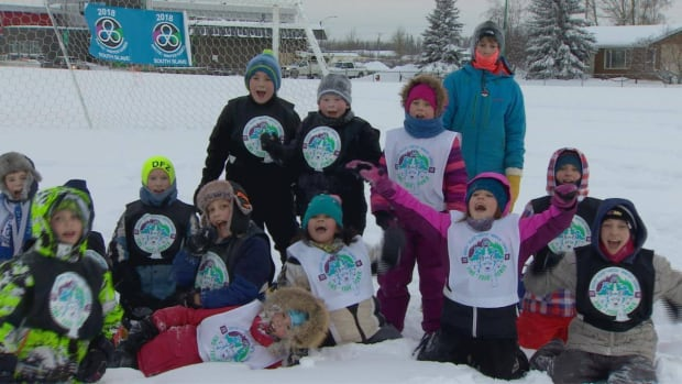 Hay River kids rally in support of the community's bid to host the Arctic Winter Games during the international committee's visit to Hay River in January.