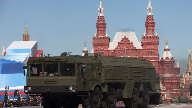 Russian Iskander missiles make their way through Red Square during a rehearsal for the Victory Day military parade in Moscow, Russia in May 2013. Russian Defence Minister Sergei Shoigu said about 76,000 troops, over 100 ships and more than 200 aircraft are taking part in Arctic manoeuvres this week.