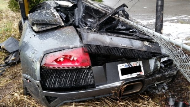 A Lamborghini smashed into a tree following a street race in Surrey on December 22, 2014.