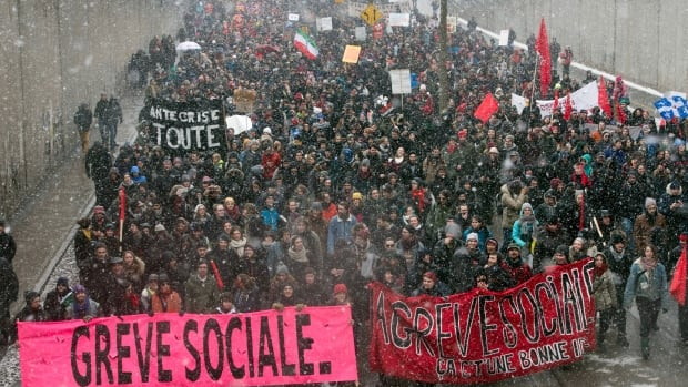 Students demonstrate against austerity changes proposed by the provincial government Saturday, March 21, 2015 in Montreal.