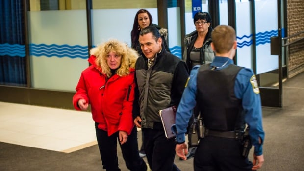Suspended senator Patrick Brazeau arrives at the court in Gatineau, Que., for his trial on charges of assault and sexual assault.