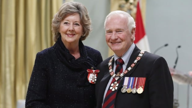 Gov.-Gen. David Johnston invests Janice Filmon as a member of the Order of Canada during a ceremony at Rideau Hall on Dec. 13, 2013, in Ottawa.