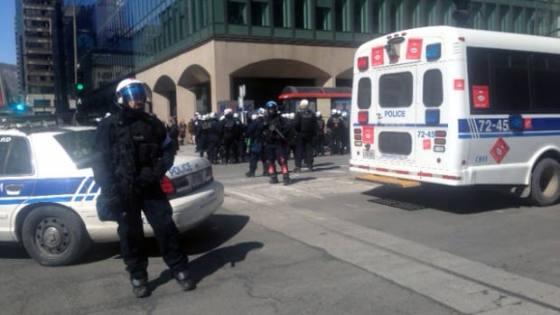 More than 30 arrests were made at a midday austerity protest in downtown Montreal.