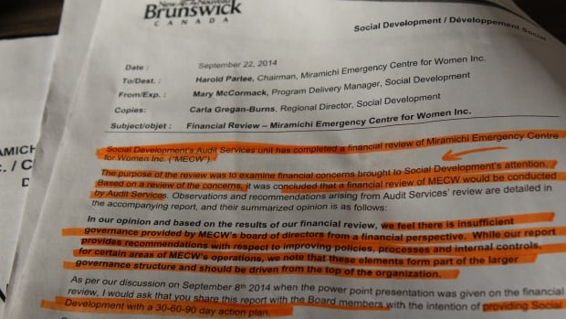 The Department of Social Development audited the Miramichi Emergency Centre for Women after financial concerns were brought to the department's attention.
