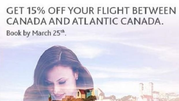 "This graphic was sent out in an email, advertising savings on a flight ""between Canada and Atlantic Canada."""