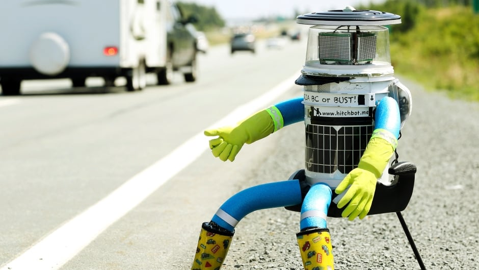 hitchBOT, seen here during happier times, embarked on a 6,000 kilometer 'Canadian Adventure' last summer — a trip it completed without incident.