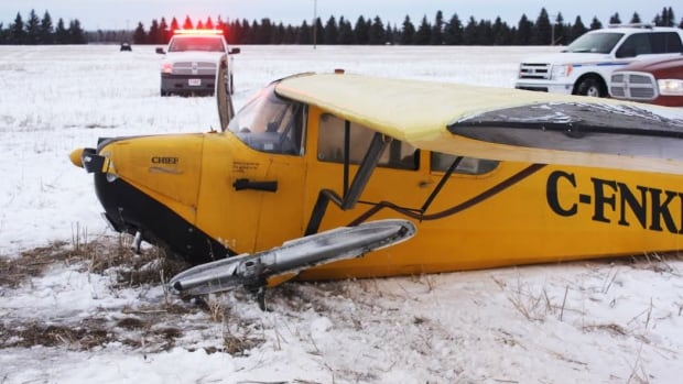 There were some red faces, but no injuries when an Aeronca Chief plane crashed at Nipawin, Sask., on Thursday.