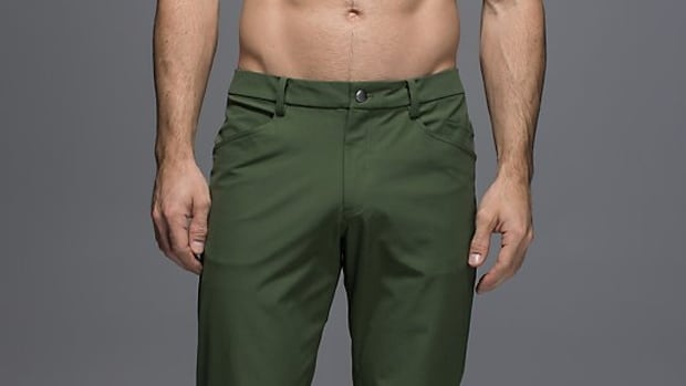 A model wears Lululemon's popular anatomically-friendly pants in this photo found in the men's clothing section of the retailer's website.