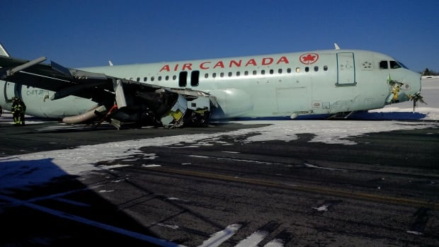 The Air Canada Airbus A320 rests on the runway at Halifax Stanfield International Airport on the morning of March 29. It has since been removed.
