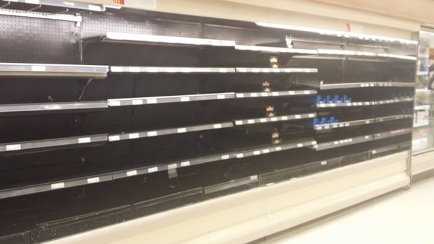 A photo shared on social media over the weekend shows empty shelves in the meat section of Dominion in Gander.