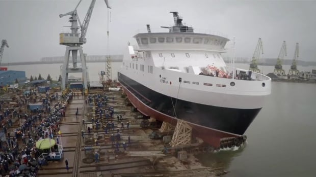 The $50-million MV Veteran is seen here being launched in March from a Damen shipyard in Romania.