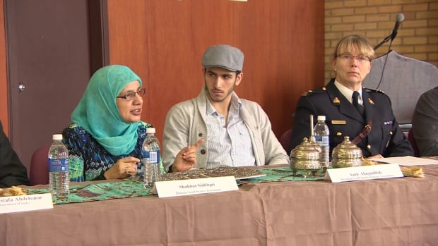 Shahina Siddiqui of the Islamic Social Services Association is joined by members of the RCMP on Monday's panel discussion.