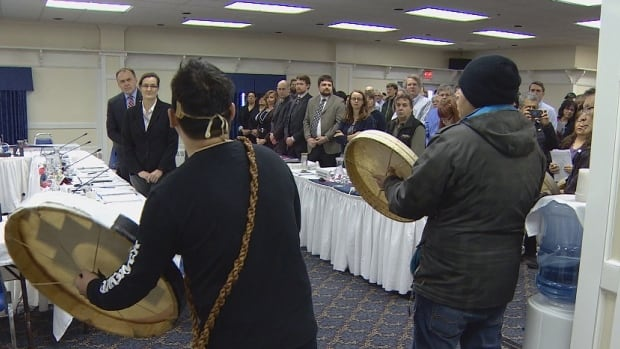 Kwanlin Dun drummers interrupted Yukon Premier Darrell Pasloski with a welcome song at parliamentary hearings Monday regarding Bill S-6.
