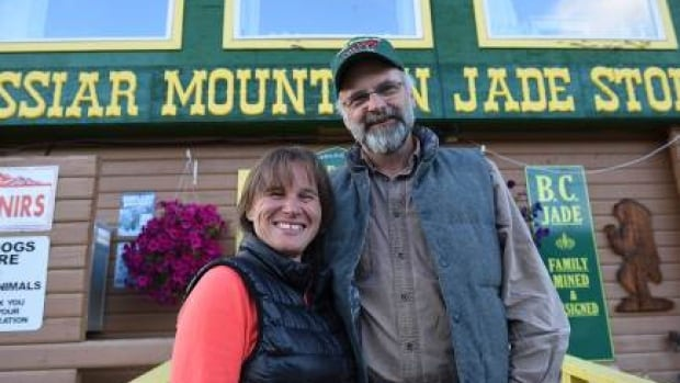 Claudia Bunce (left) and her husband Robin Bunce stand in front of the Jade Store in Jade City, B.C. The Bunces star in the new Discovery Channel TV series 'Jade Fever.'