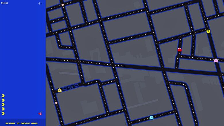 Google Maps adds playable Pac-Man game on city streets | CBC ... on google pin game, google birthday game, google halo game, online maps game, icarus map game,