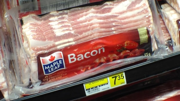 Bacon is particularly expensive in Canada's North, as this package for sale in Iqaluit shows. Last month, the national average price for 500g of bacon was $6.63. Canadians could start seeing prices dip soon because of cheaper bacon in the U.S.