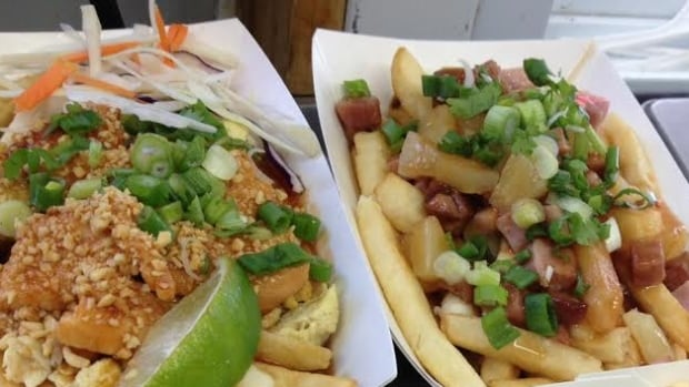 The Green Payaya is offering a variety of Thai-inspired poutines, including the Thaiwaiian (left)
