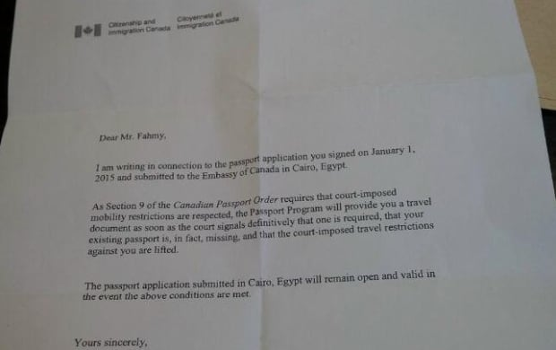 Citizenship letter to Mohamed Fahmy