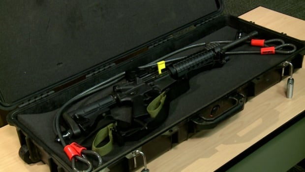 Police say a patrol rifle like this one was stolen from an officer's personal vehicle.