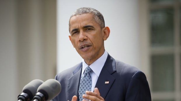 U.S. President Barack Obama speaks with reporters last week about the breakthrough in the Iranian nuclear talks. Obama staunchly defended the framework nuclear agreement with Iran in an interview with the The New York Times published Sunday.