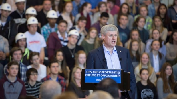 Prime Minister Stephen Harper was at at school in North Vancouver, B.C. Tuesday, where he announced a change to the student loan program that would allow people to apply for financial assistance for courses lasting a minimum of 34 weeks.