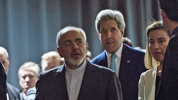 Iranian Foreign Minister Javad Zarif, left, is flanked by U.S. Secretary of State John Kerry and European Union High Representative Federica Mogherini as they prepared to announce the framework deal to curb Iran's nuclear plans last week in Switzerland.