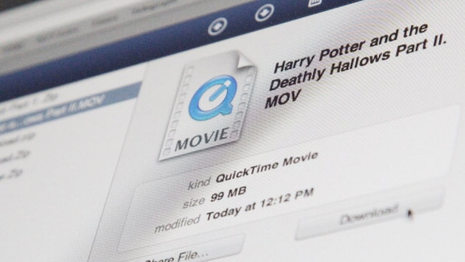 A photo illustration of a Harry Potter film about to be illegally downloaded.