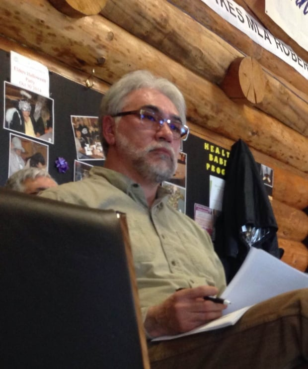 Inuvik Mayor Floyd Roland at public meeting about fracking regulations, April