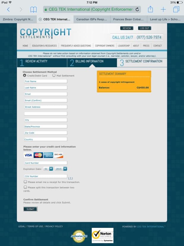 Illegal downloading - settlement website