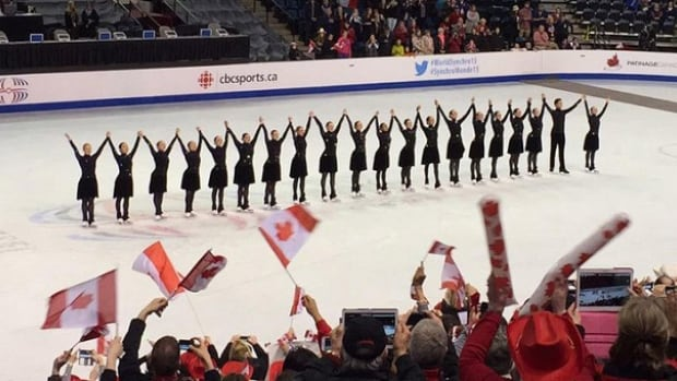 Team Canada 1, Nexxice from Burlington, Ont. (above) and Team Canada 2, Les Supremes from St. Leonard, Que. joined the ranks of the 23 other teams looking for podium hardware at the world synchronized skating championships in Hamilton.