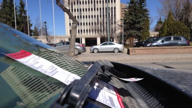 A ticket is seen on a car across the street from Regina City Hall in this April 2015 photo.