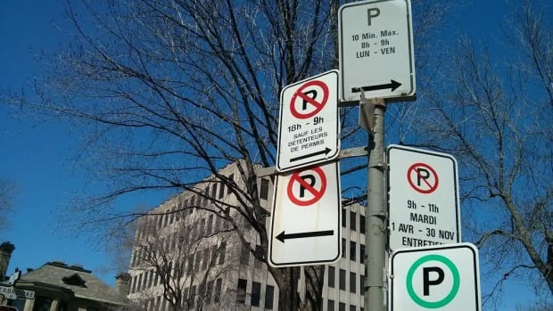 Multiple signs often make parking a head-scratcher on the island of Montreal, like here at the corner of Elm Ave. and Sherbrooke St. in Westmount.