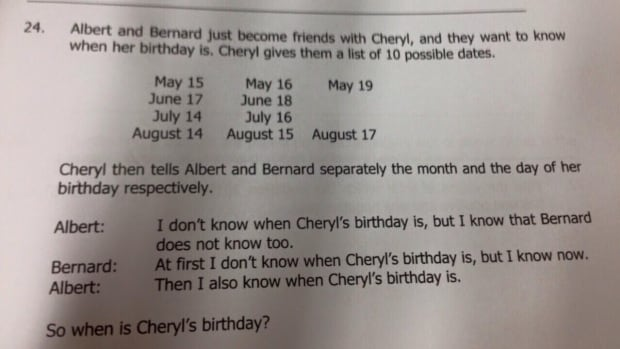 Kennethjianwen's Facebook photo showing this logic puzzle has been shared more than 5,000 times as people try to solve the question of when Cheryl was born.
