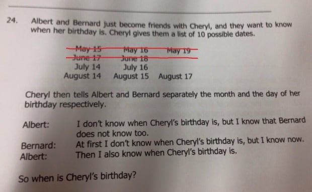 Cheryl's birthday solution