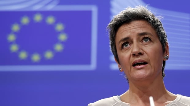 European Competition Commissioner Margrethe Vestager speaks in Brussels on Wednesday as the EU accused Google of distorting internet searches in its favour and launched an antitrust probe into its mobile operating system Android.