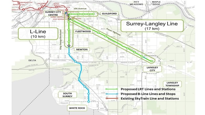 Vancouver Subway Map.Metro Vancouver Mayors Agree To Suspend Surrey Lrt Start Process